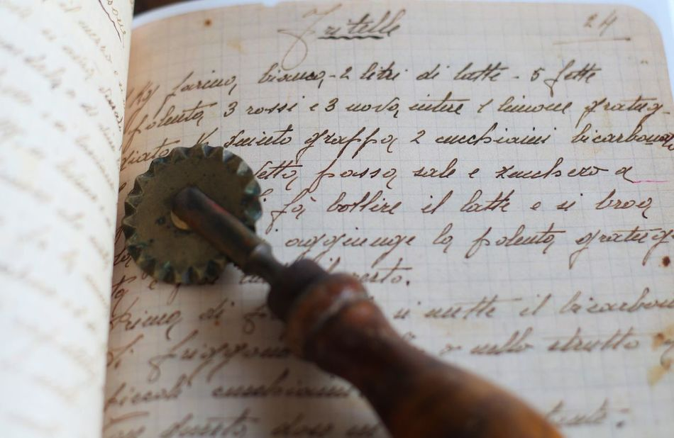 Handwriting recipe and Handwriting  Handwriting  Indoors  Ink Old-fashioned Oldbook Paper Pasta Cutter Pastry Cutter Recipebook Text Writing