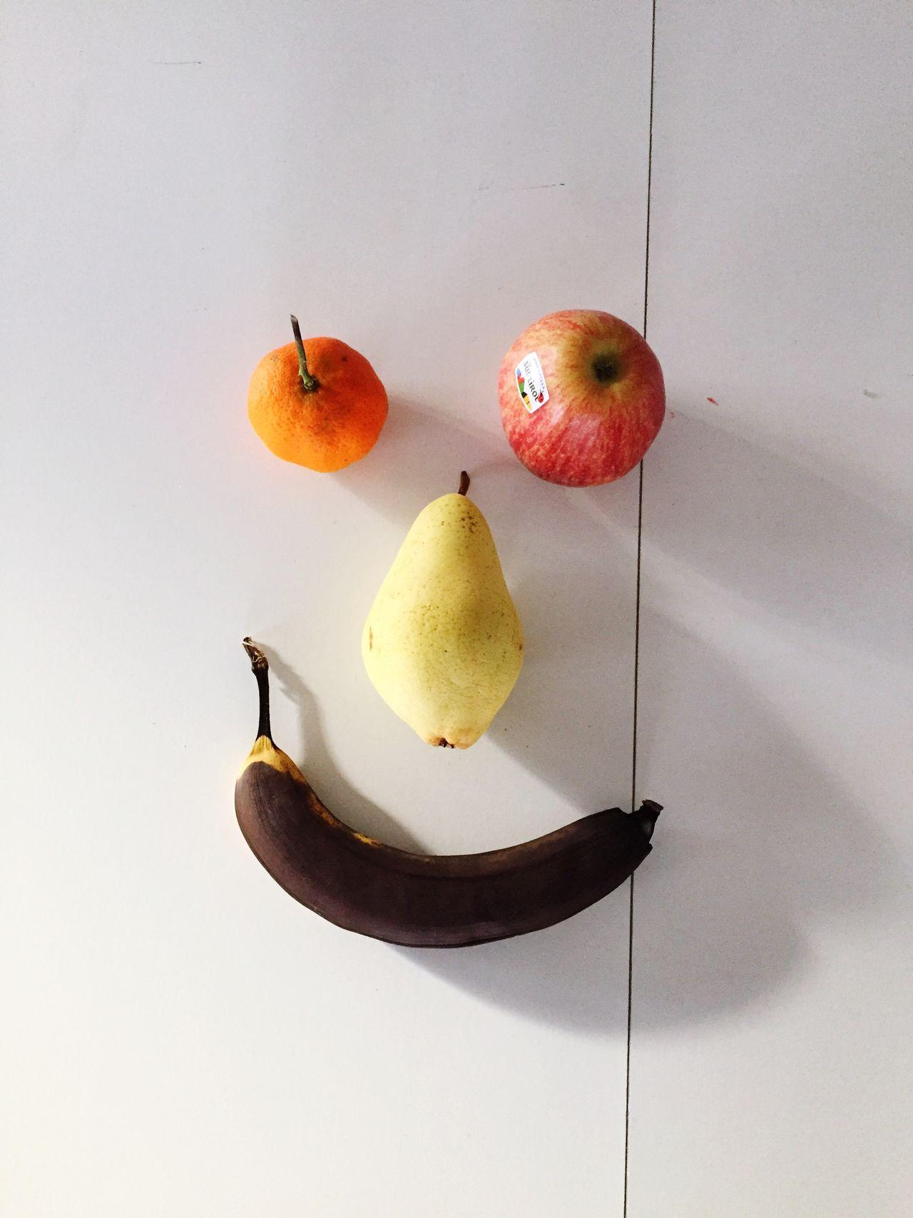 Fruit No People Food Healthy Eating White Background Studio Shot Freshness Banana Pear Apple Orange - Fruit Happy Smile Shadow I See Faces