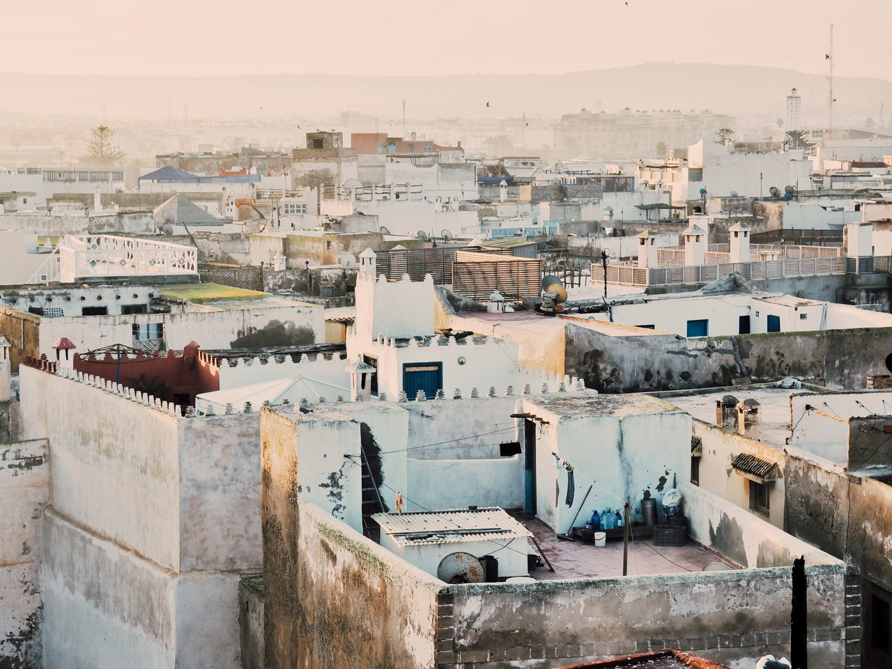 Cityscape City High Angle View Town Travel Residential Building Travel Destinations Architecture Roof History House Outdoors Urban Skyline Ecosystem  No People Building Terrace Essaouira Morocco Rooftop Rooftop View  Golden Hour Morning Light City Sunrise Travel Photography