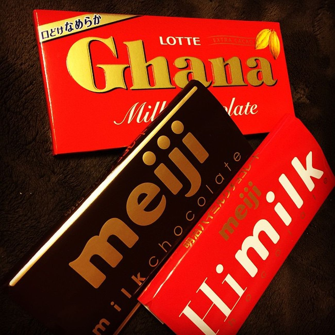 板チョコ配給。今週は ロッテ と 明治 のミルクチョコ系など Lotte Meiji Chocolate Ghana