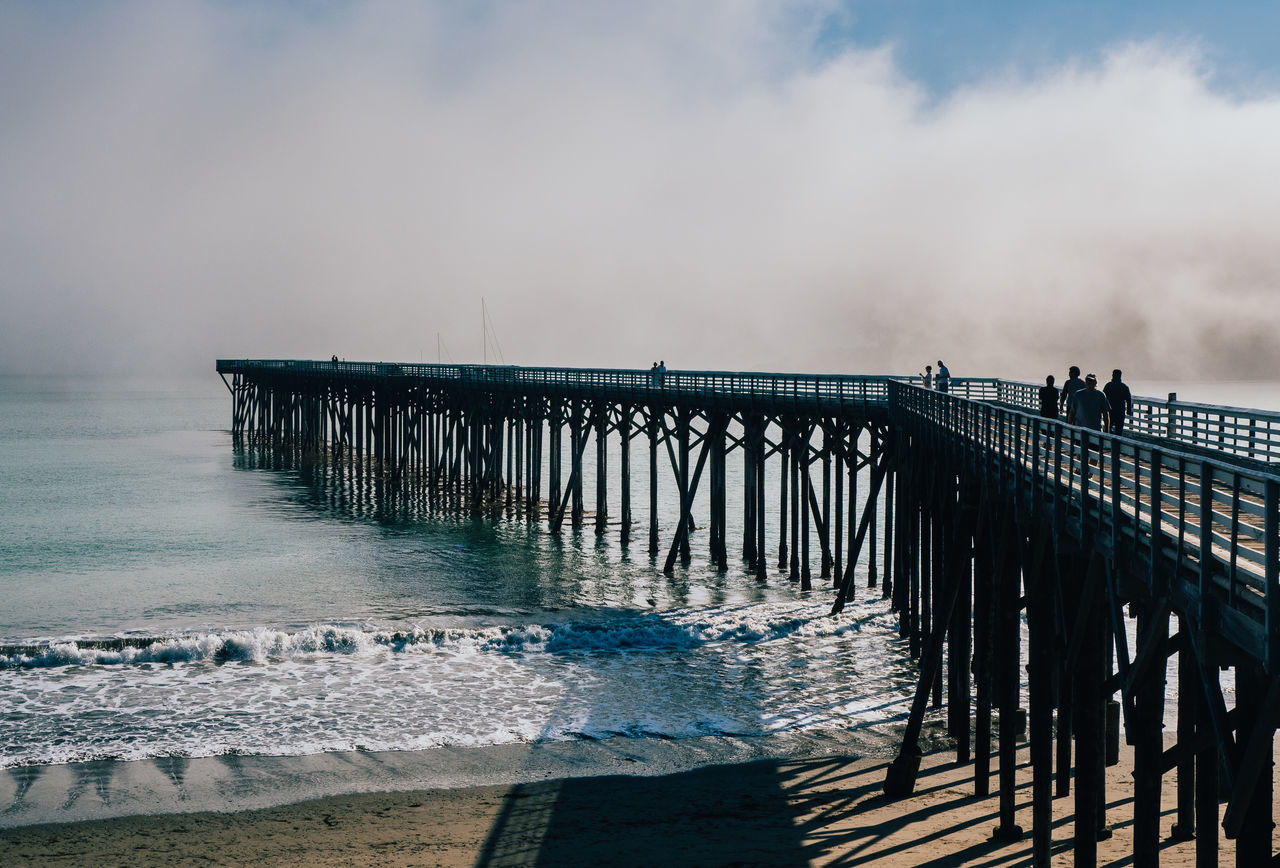 At the Pier Beach Beauty In Nature Big Sur Bridge - Man Made Structure California Cloudy Day Fog Horizon Over Water Idyllic Nature No People Outdoors Pier San Simeon San Simeon, Ca Scenics Sea Sky Tranquility Travel USA Water Wave