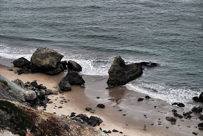 Beach Beauty In Nature Coastline Day Geology High Angle View Nature Non-urban Scene Outdoors Remote Rock Rock - Object Rock Formation Sand Scenics Sea Seascape Shore Tourism Tranquil Scene Tranquility Vacations Walking Around Walking Down The Beach Water