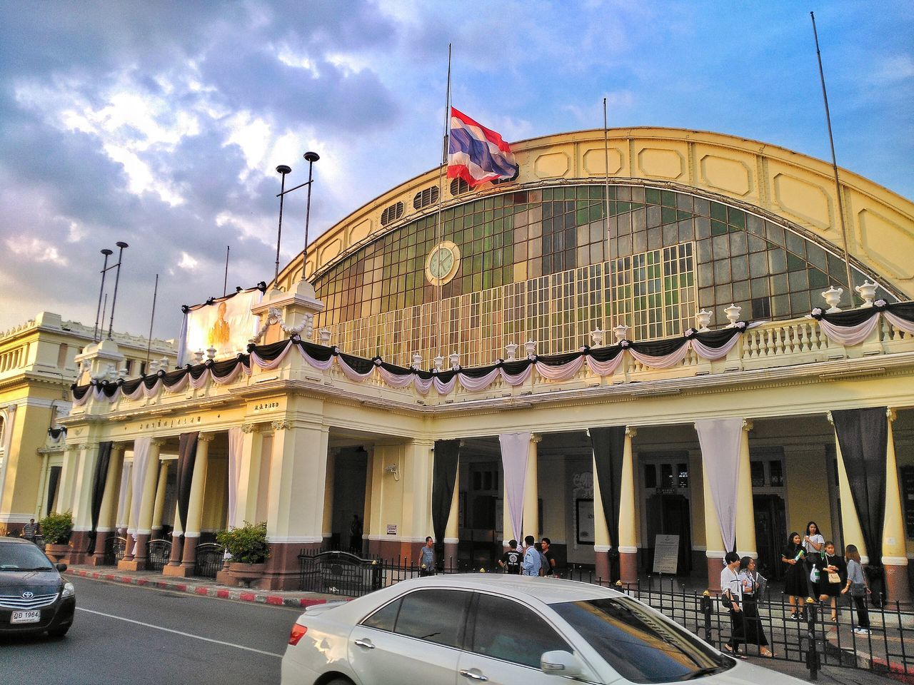 Architecture Building Exterior Built Structure Sky Flag City Travel Destinations Outdoors No People Day Railwaystation Bangkokstation