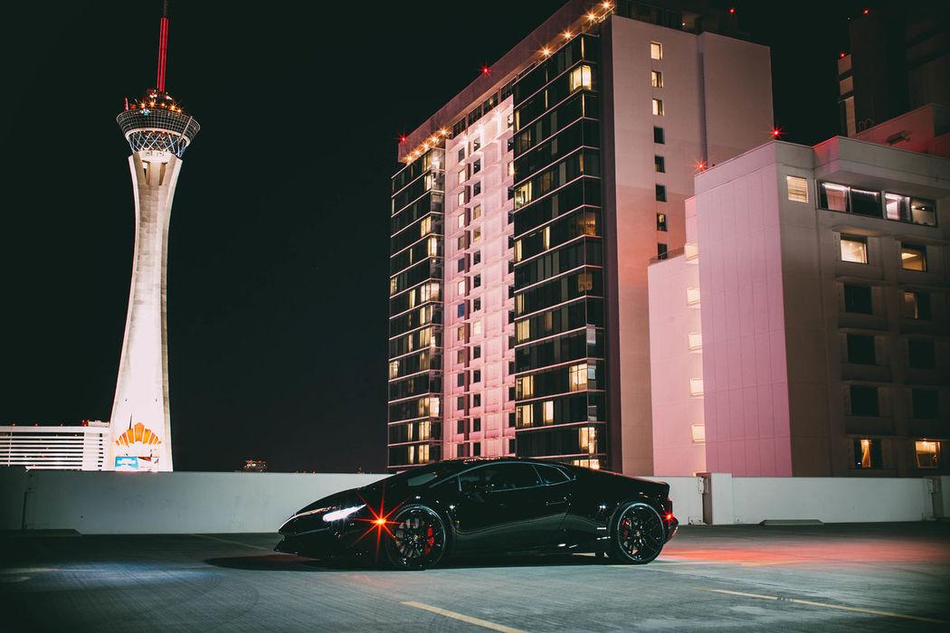 Night Built Structure Arts Culture And Entertainment Architecture City No People Outdoors Supercars Lamborghini Huracan Lamborghini Blackcars Night Lights Photographerinlasvegas Evanscsmith Lasvegas
