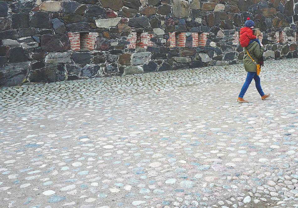 Back Brick Wall Coat Happy Joy Kid Loving On Top Parent Red Walking Around
