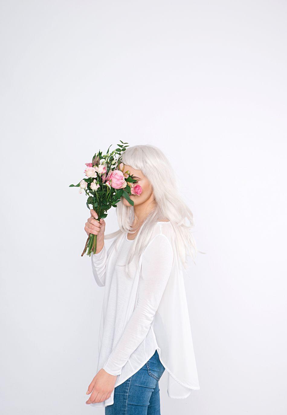 Beautiful stock photos of blumen, flower, studio shot, white background, only women