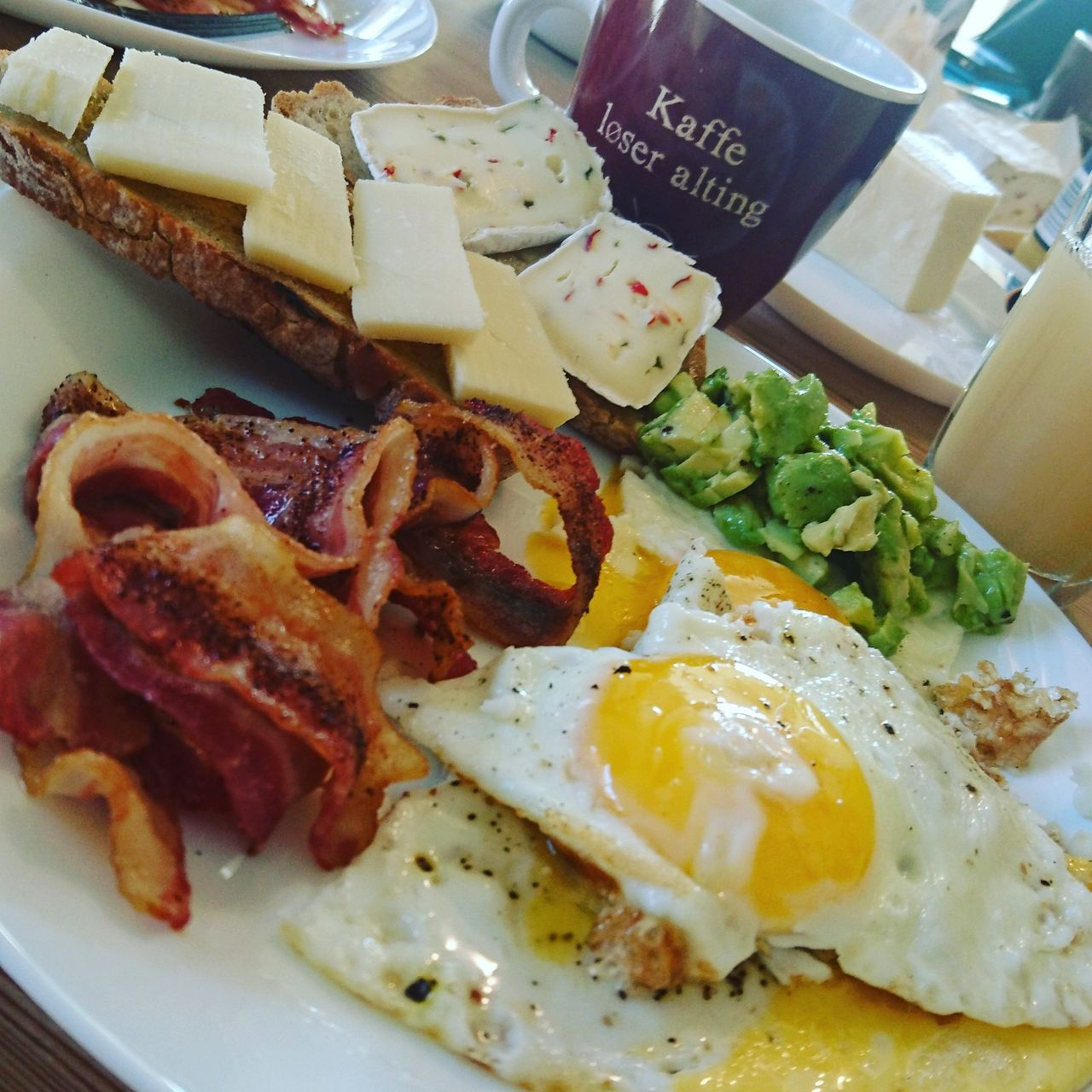 Brunch can take many forms ... Breakfast Food And Drink Fried Egg Food Meal Plate Smoked Bacon Cheese Brunch