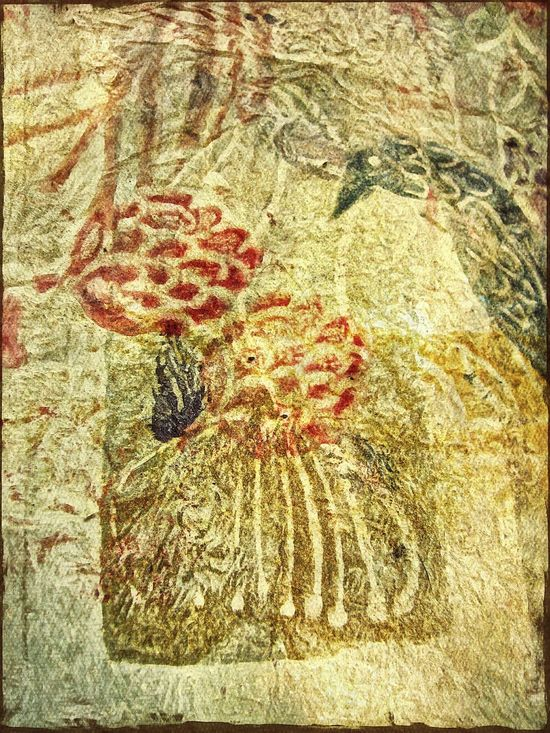 Early Awehaven textile depicting a bird and berries. Textile Early Fabric Fabric Detail Old Material Bird And Berries Deep Filtered Image Deep Filtering Heather Fifield Art Skwirrel Heaven Art Awehaven Pattern Textures And Surfaces