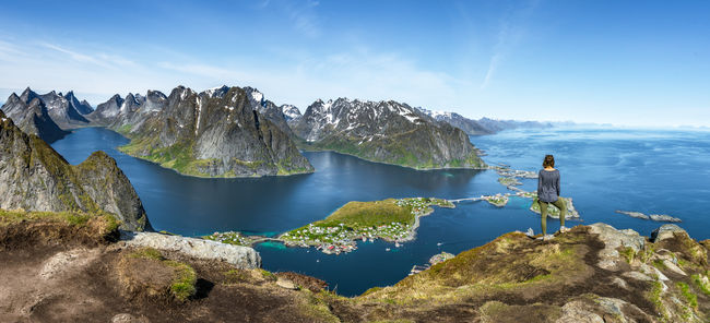 Beauty In Nature Blue Fjord Hiking Majestic Mountain Mountain Range Nature Non-urban Scene Norway Reine Rock Formation Scenics Solitude Tranquil Scene Tranquility Water