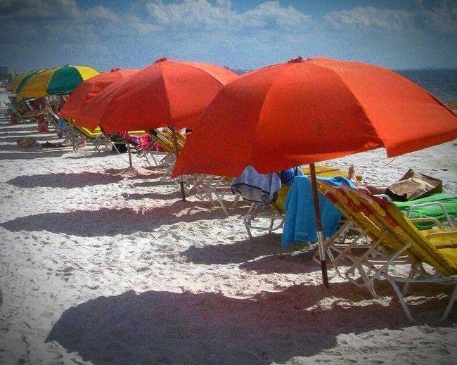 Beach Umbrellas Beach Umbrellas Hot Day Sand & Sea Tanning Ft. Meyers Beach Colors Dayoff Play Day Sandy Feet