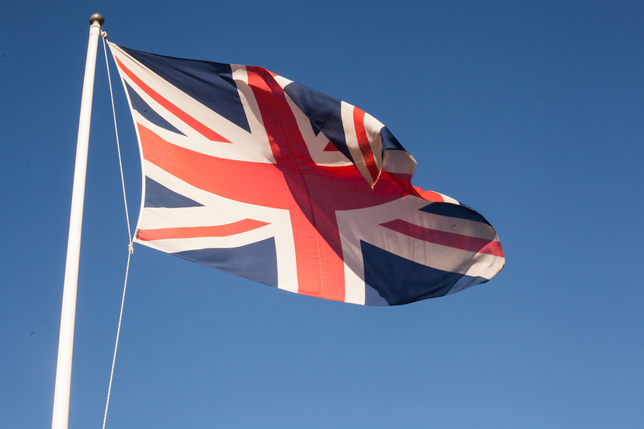 Beautiful stock photos of flaggen, Blue, British Culture, British Flag, Clear Sky
