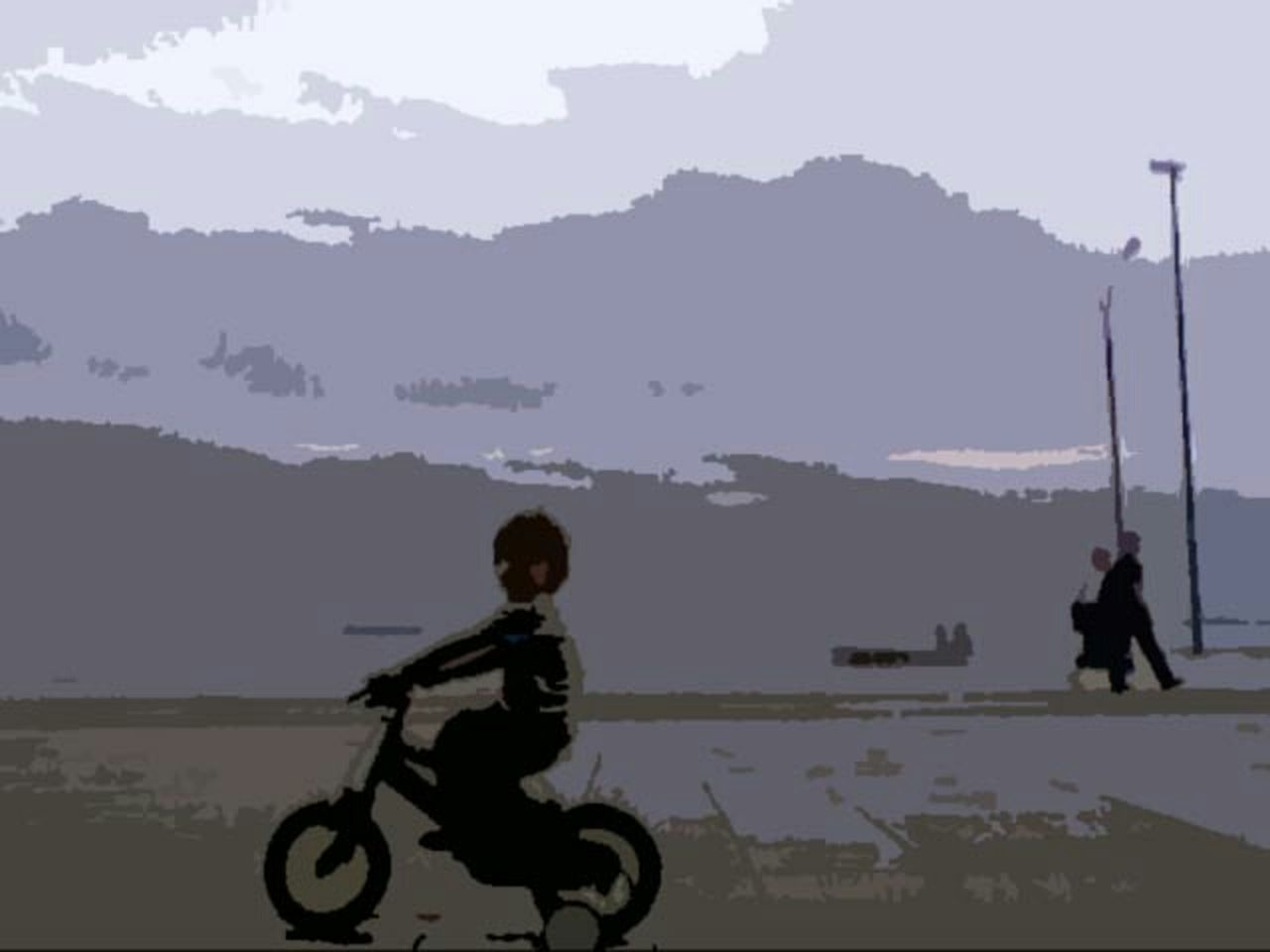 Careless Child Bicycling Painting Style Digital Art