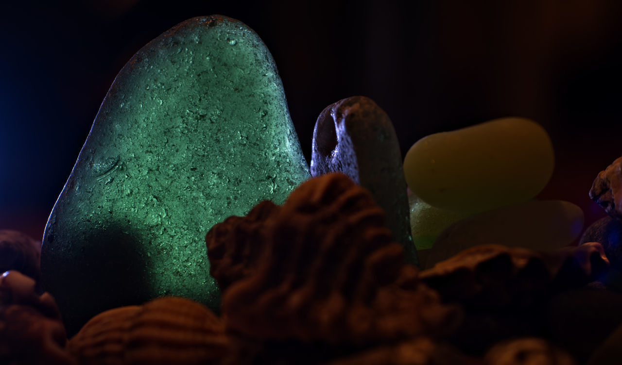 night, close-up, indoors, multi colored, no people, black background