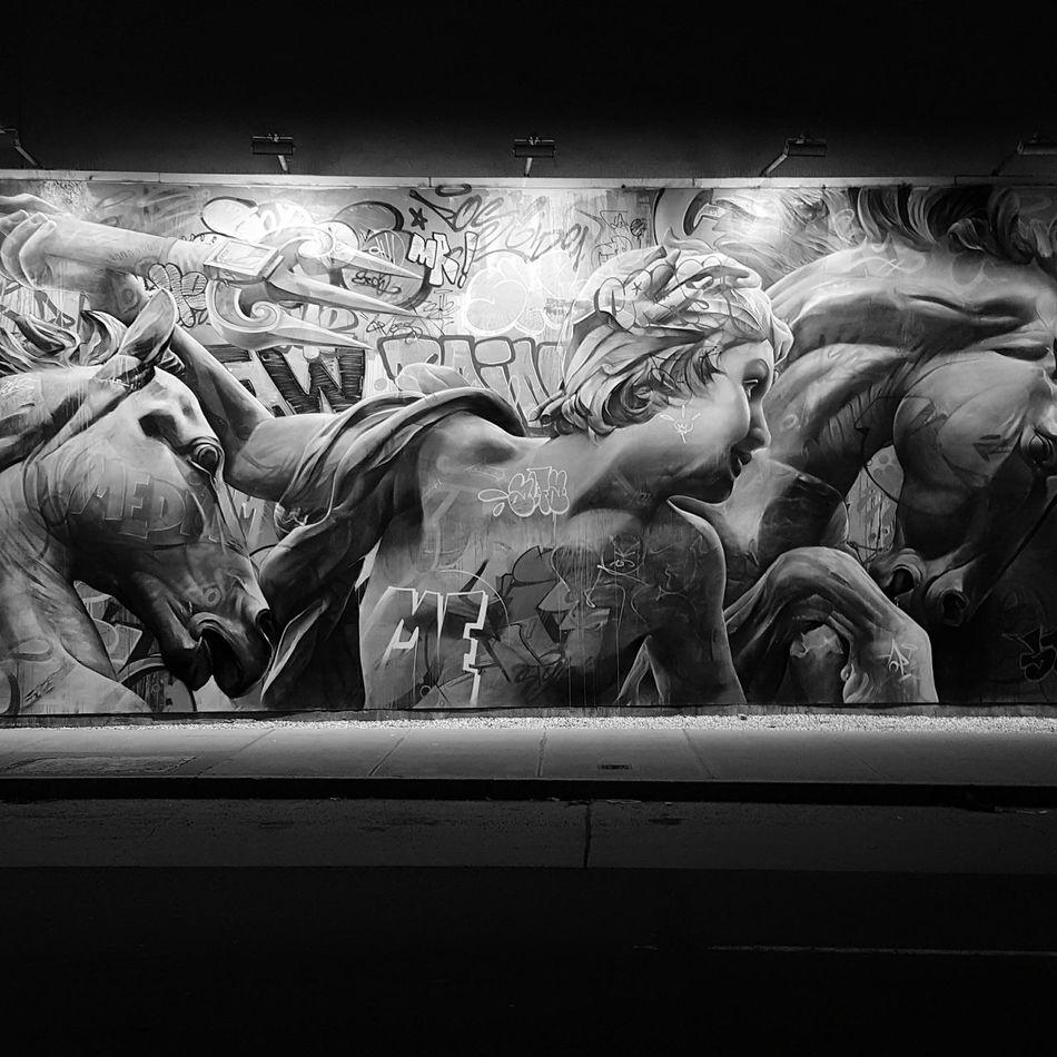 Beautiful mural by Pichiavo lit up at night. NYC. BNW Vetsion. NYC Mobile Photography City Life EyeEm Gallery New York City Photography Bnw_friday_challenge Shootermag_usa EyeEmBestPics NYC Photography Streetphotography Eeyem Photography City Outdoors Bnw_captures Street Photo StreetArtNYC Bnw Photography Art ArtWork