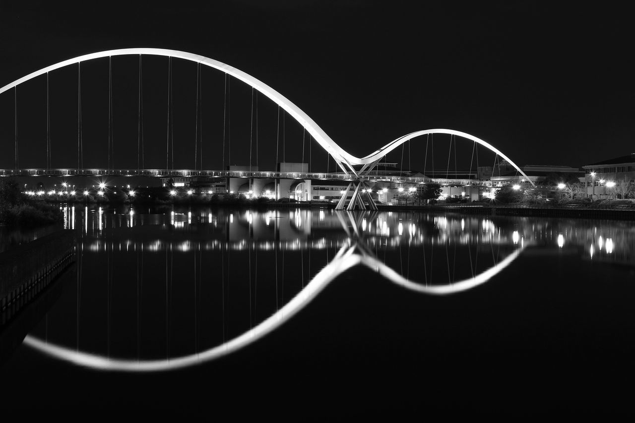 Arch Architecture Bridge - Man Made Structure Built Structure Clear Sky Connection Infinity Bridge Nature Night No People Outdoors Reflection Sky Transportation Water Waterfront