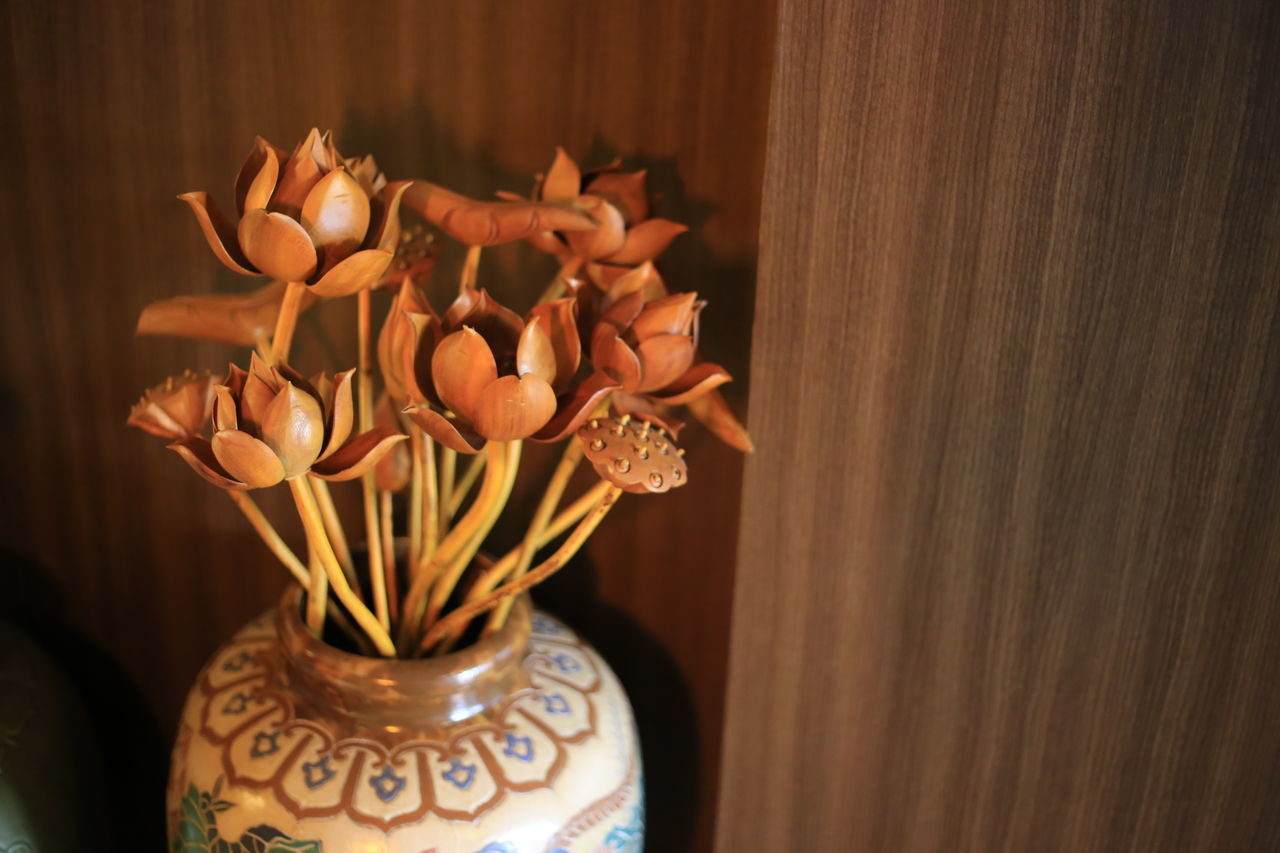 High Angle View Of Artificial Lotus Water Lily In Vase