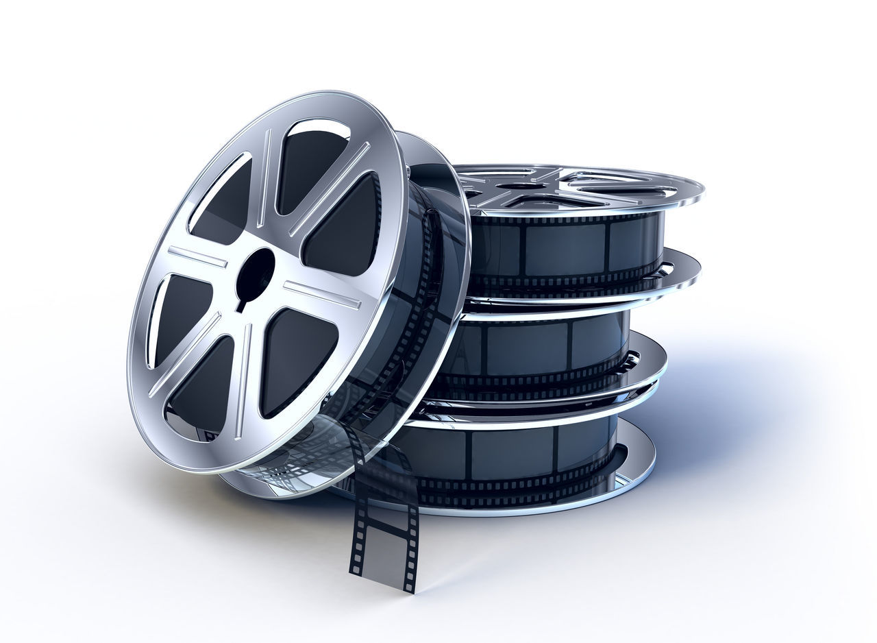film industry, film reel, photography themes, camera - photographic equipment, movie camera, studio shot, technology, old-fashioned, no people, movie, white background, close-up