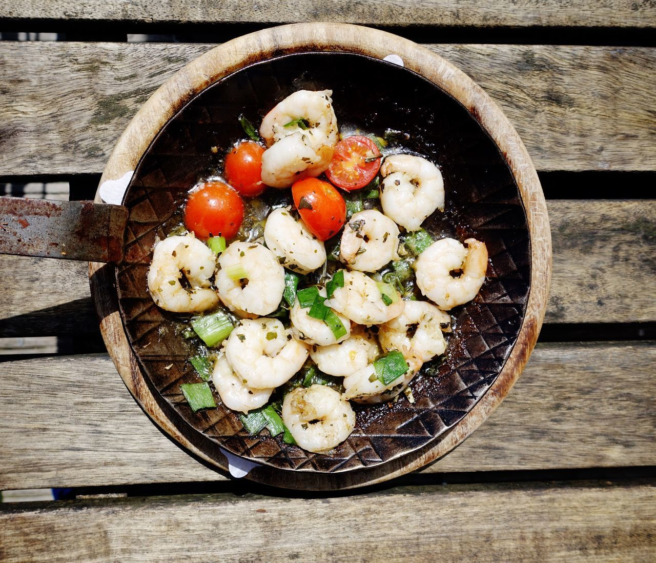 Food And Drink Wood - Material High Angle View Healthy Eating No People Food Ready-to-eat Seafoods Pan Frying Pan Outdoors Crabs Prawns Garnelen