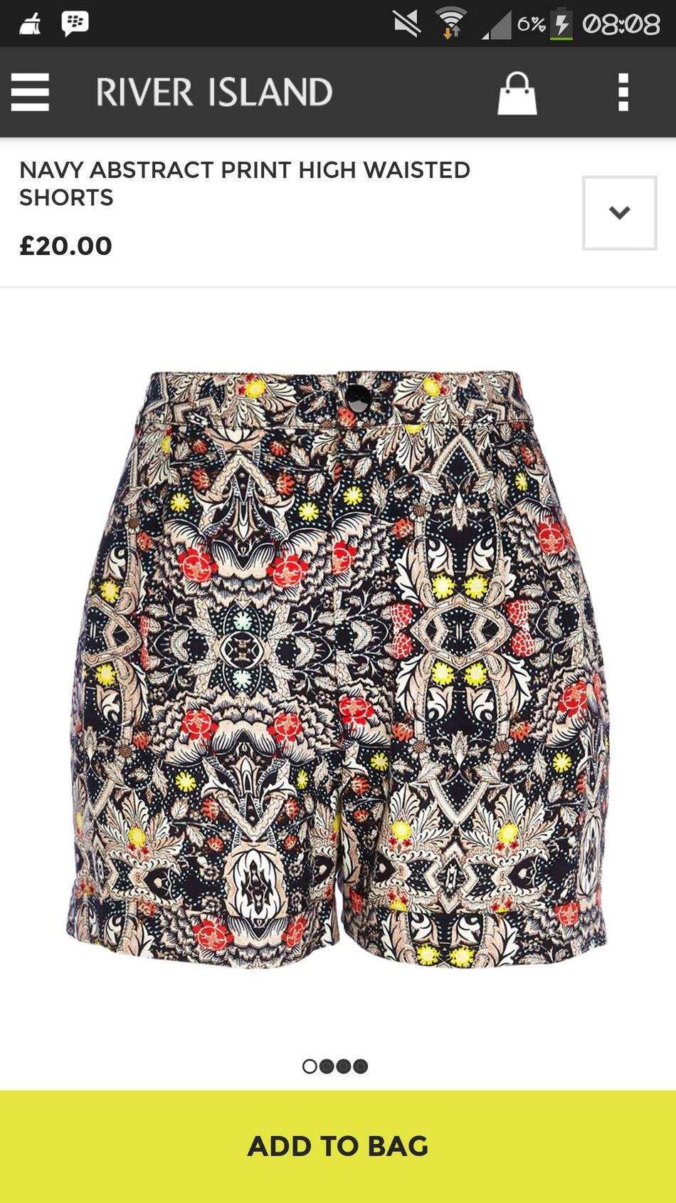 navy abstract print high waisted.. I want this! Riverisland Fashionitem Street Fashion Trendy