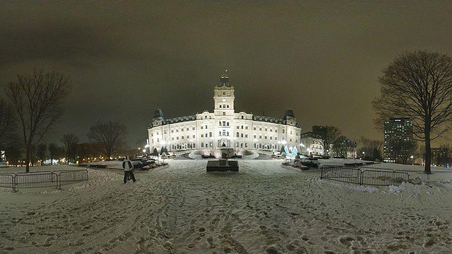 Parliament de Quebec. Quebec City Parliament Building Wintertime Zero Below Nightshot Wide Angle