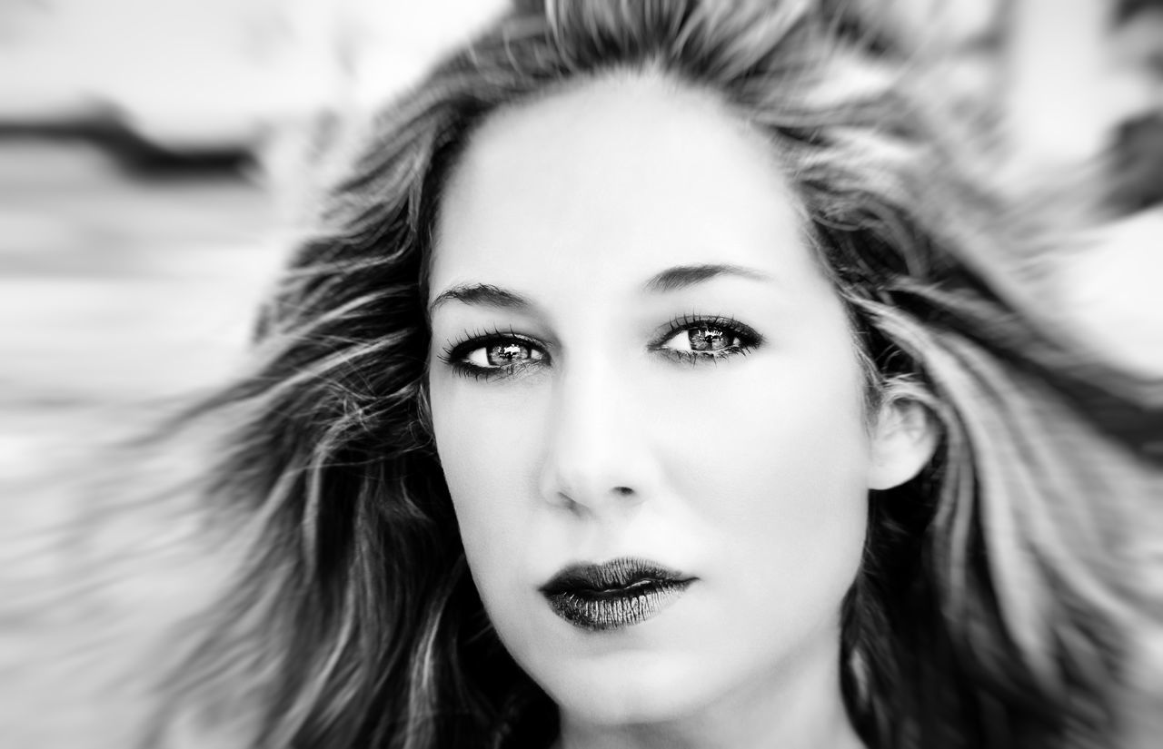 Portrait of a young blond woman Art Beautiful Beauty Black And White Cosmetics Depression Depressive Eyes Face Fashion Girl Hair Health Lady Looking At Camera Love Makeup Model Portrait Sensitive Skin Thoughtful View Wind Woman