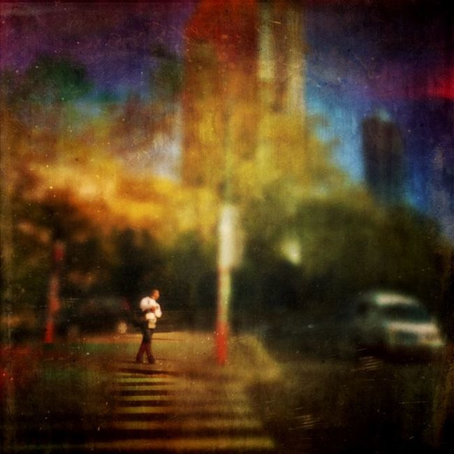 Small Scenes Of Life Waiting Red Light Crossing Man Traffic Road Buildings Trees