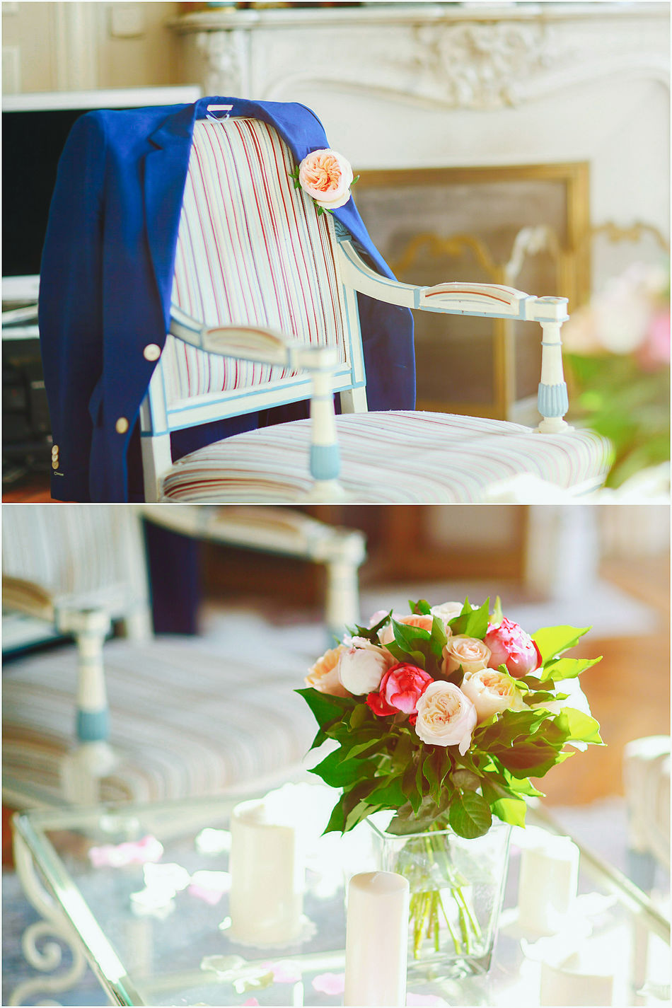 Bouquet Chair Chair Cute Decorations Details Flower France French Indoors  Indoors  Morning Paris Preparations Table Tender Wedding Wedding Wedding Day Wedding Photography Wedding Reception