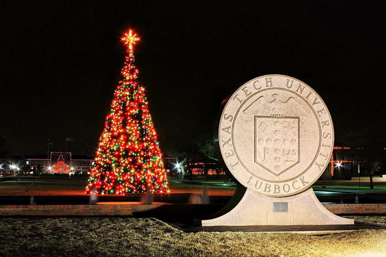 Illuminated Night No People Christmas Christmas Decoration Tree Christmas Tree Outdoors Texas Texas Tech University Great Seal Lubbock Texas