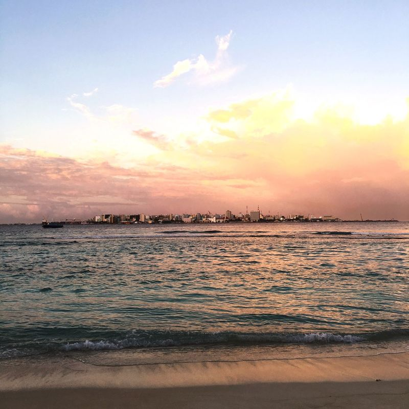 Maldives Sunset Water Sea Beach Vacations Sky Beauty In Nature Seascape Travel Destinations Cloud - Sky Calm Nature Island Tourism Male'city