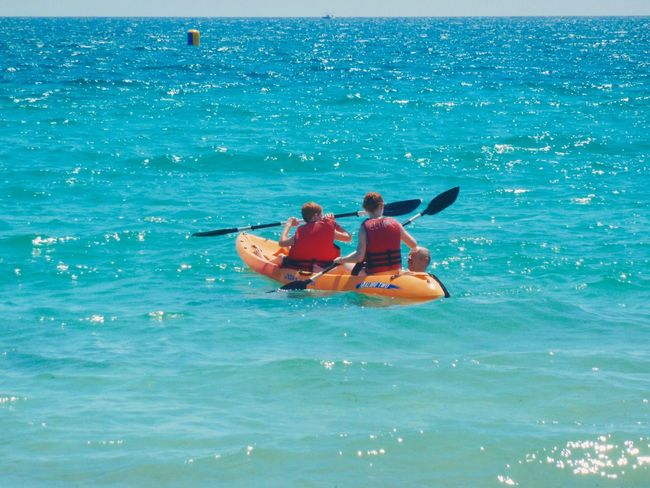 Adventure Beauty In Nature Blue Canoe Canoe Paddling Day Enjoyment Fun Horizon Over Sea Horizon Over Water Idyllic Leisure Activity Lifestyles Nature Outdoors Relaxation Rippled Scenics Sea Summer Tourism Tranquility Tunesia Vacations Water