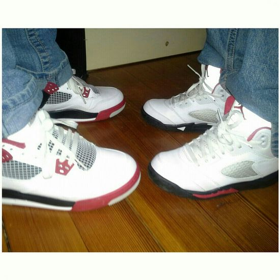 Little brother with the 5s me with the 4s . He has to get started with his sneaker game like his sister lol