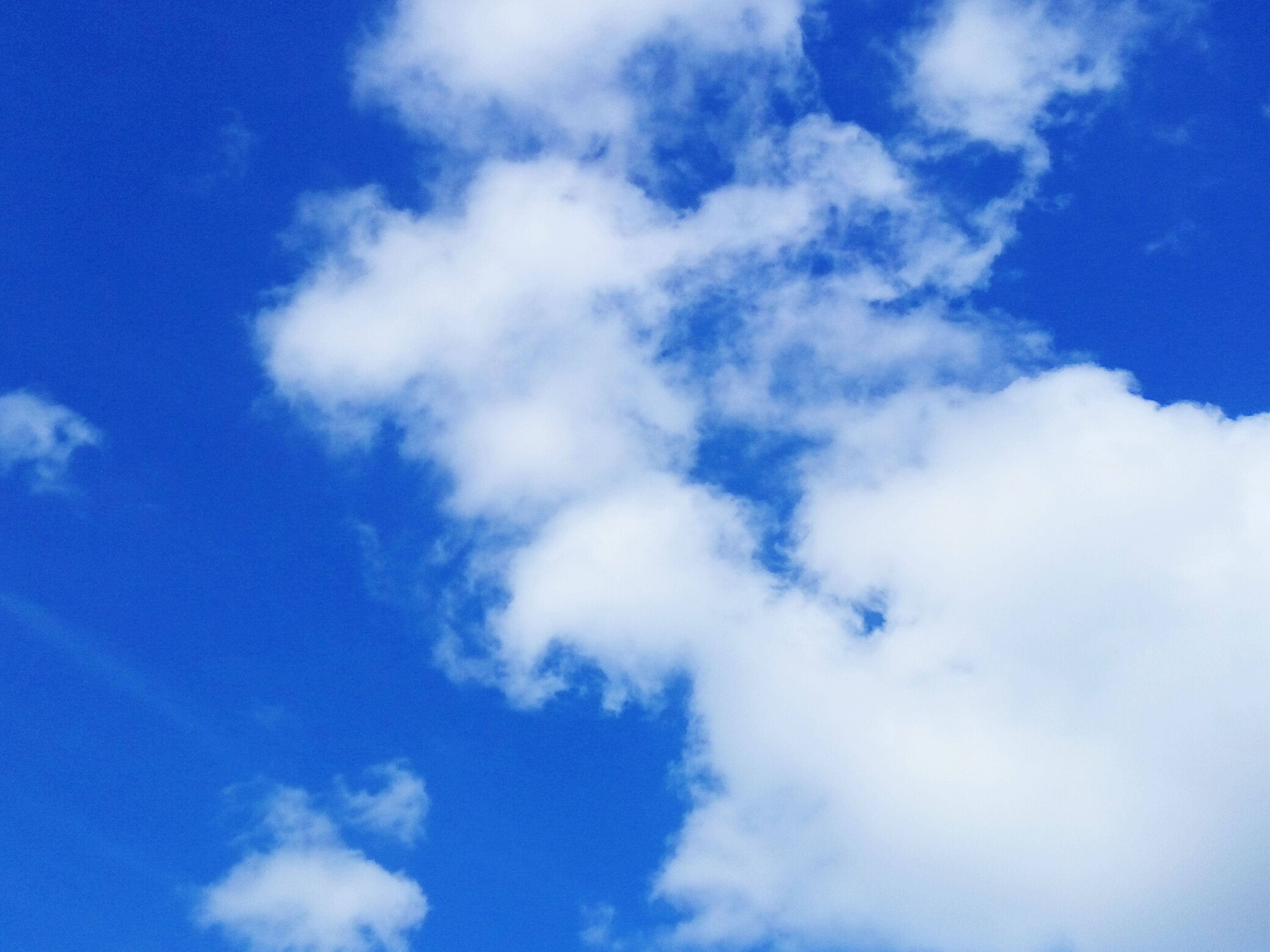 blue, sky, low angle view, sky only, beauty in nature, cloud - sky, tranquility, nature, scenics, backgrounds, tranquil scene, cloud, white color, cloudscape, full frame, day, outdoors, idyllic, cloudy, no people