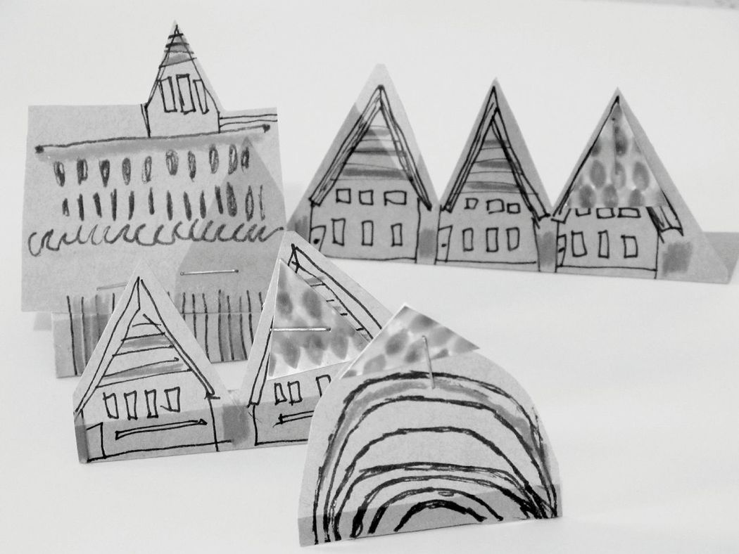 Paper View Chalet Chalets Lodge Town Houses Buildings Illustration Illustrated Architecture Architecture Line Drawing Drawing Lines Papertown Paper ArtWork Fun Cute Home Sweet Home Composition Textures And Surfaces Showcase: December Materials Printmaking Sculpture