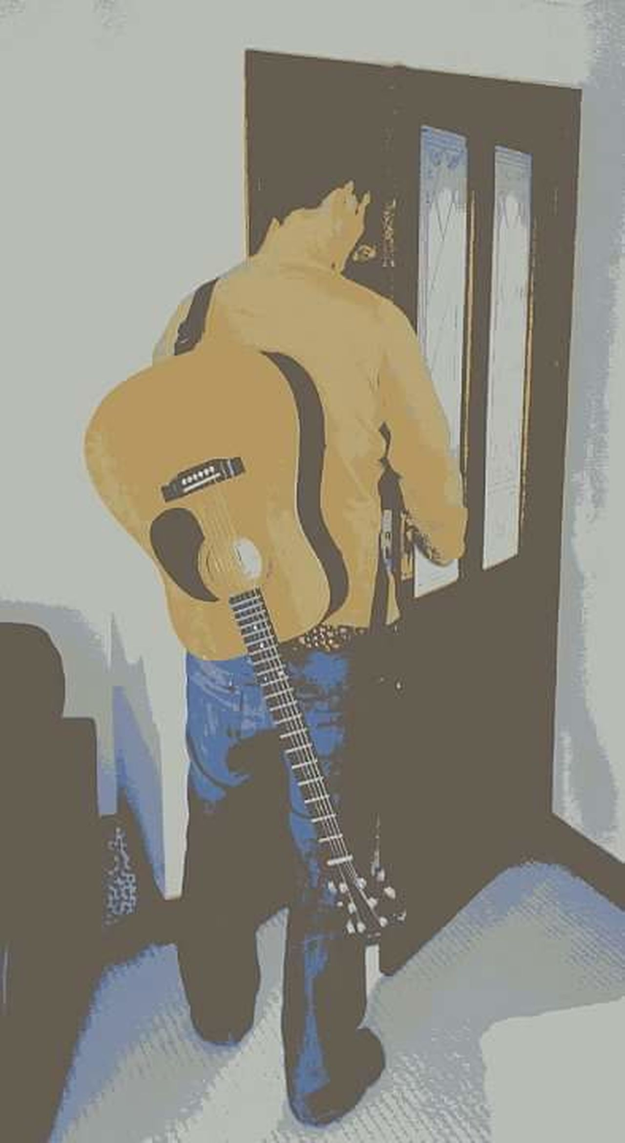 Only Men One Person Guitar Adult Indoors  From The Back Acoustic Acoustic Guitar Leisure Activity Leisure