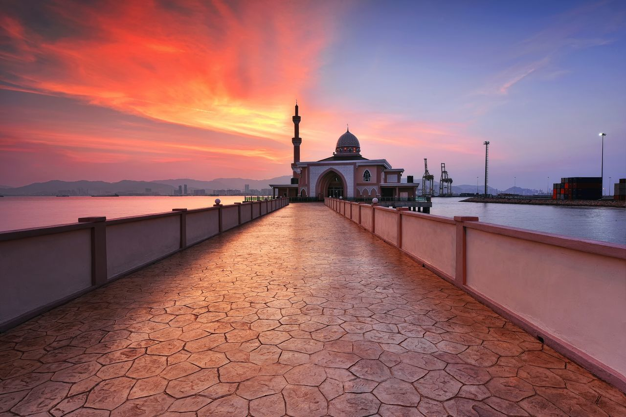 Penang Port Mosque The Architect - 2017 EyeEm Awards Mosque Architecture Building Sunrise Sunset Muslim Religion Travel Destinations Travel Port Summer Landscape EyeEm Gallery Getty Images Background Eyeem Market EyeEmBestPics City Penang Malaysia Building Exterior Tourism No People Sky