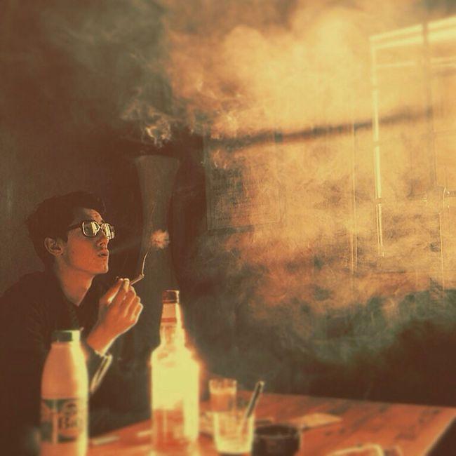 Morning Chill Whisky Milk Cigarettes Smoke Morning Friends France
