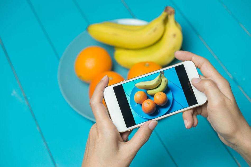 Banana Cell Phone  Fruit Hand Mobile Mobile Phone Mobile Photography Orange Plate Share Shutter Social Media