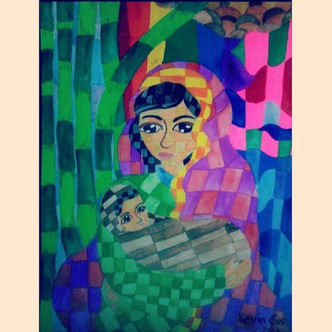 Mothet and child. Madonnaandchild Motherandchild Pinoyartist Art artwork artist filipinoartist painting cubism