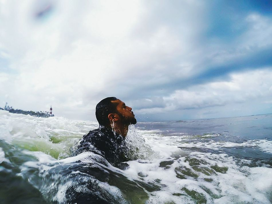 The Portraitist - 2016 EyeEm Awards Theselfportrait otherwise known as a Selfieoftheday . But no, this not just that. Its me, in my element, doing what I love, in gorgeous weather. This photograph defines Me . Shorebreak Lighthouse Beachesofindia Oceaninspiration Goprooftheday