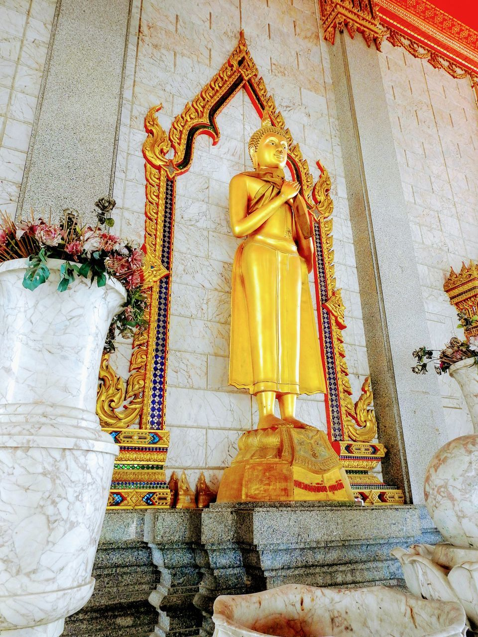 religion, spirituality, statue, male likeness, place of worship, human representation, sculpture, low angle view, gold colored, no people, built structure, golden color, indoors, day, idol, architecture