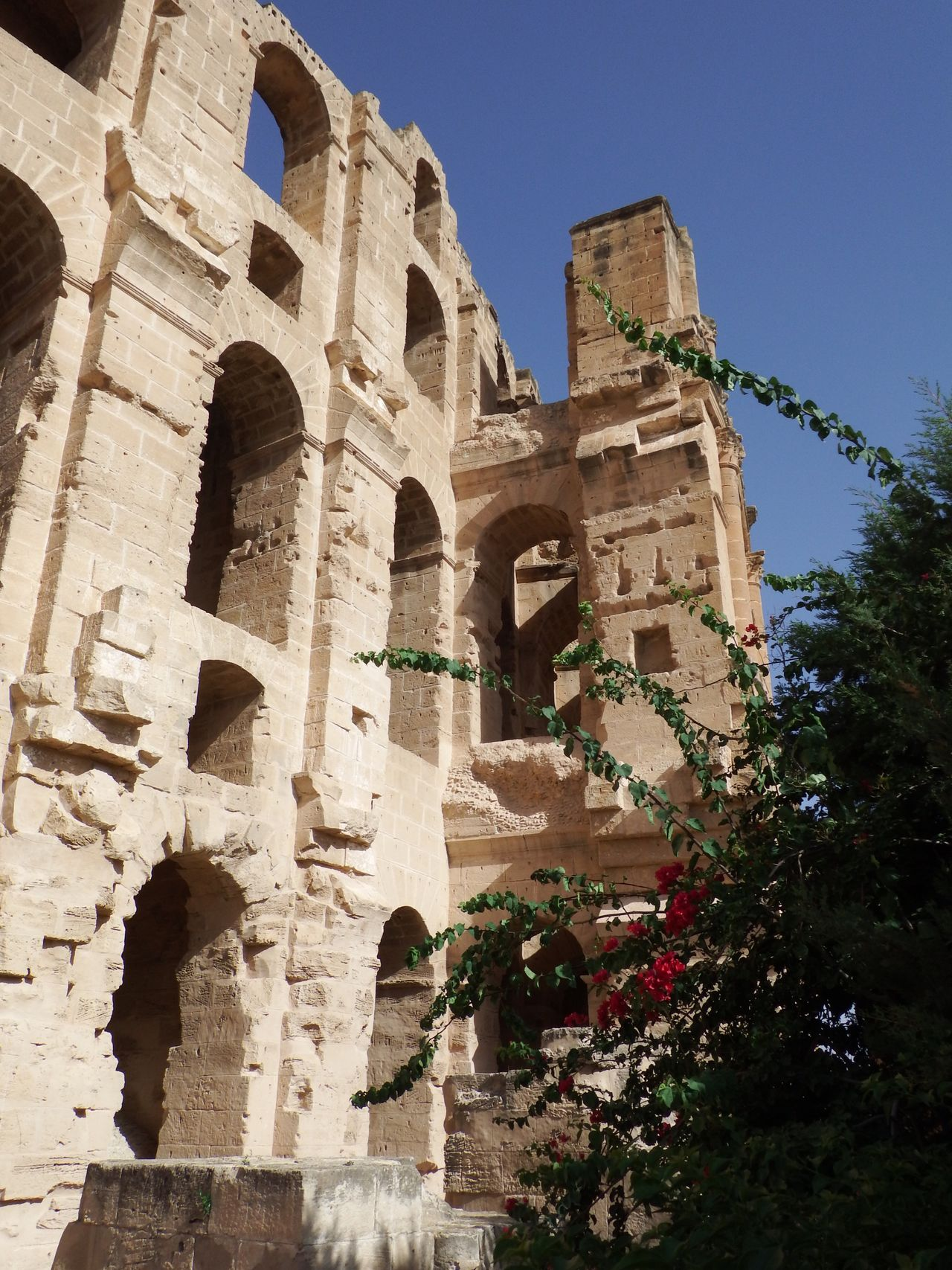Ruin Amphitheatre Warm Colors Day Blue Sky Sunshine Summer El Djem No People Traveling Ancient Ancient Architecture Ancient Ruins Historic Historical Building Tunesia