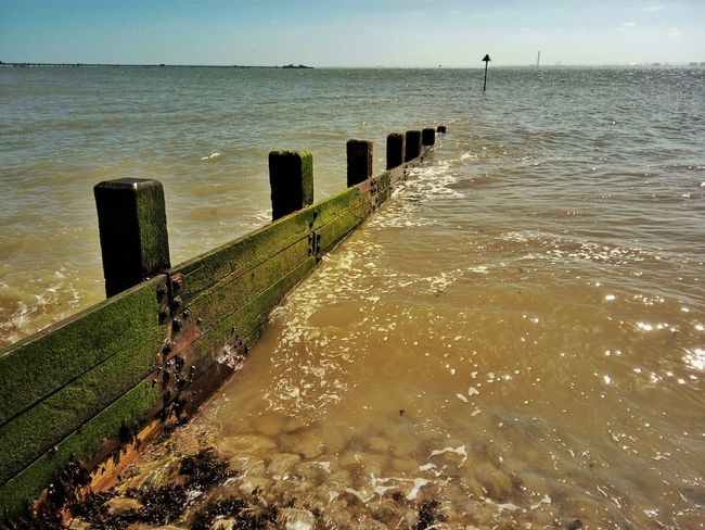 Groyne on Southend seafront. Serenity Tranquility Sky Sea View Clouds Landscape Sea Seascape Seaside Sea And Sky Southend British Seaside This Is Britain Southend On Sea Tides The Sea Groyne
