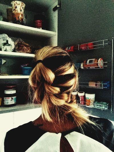 Taking Photos Handy Shot Indoors  Fotografie Well-dressed Handyfoto Lifestyles Sister Hair Hairstyle Hairfashion Zopf Zopf ♥ Zöpfchen Fun In The Kitchen