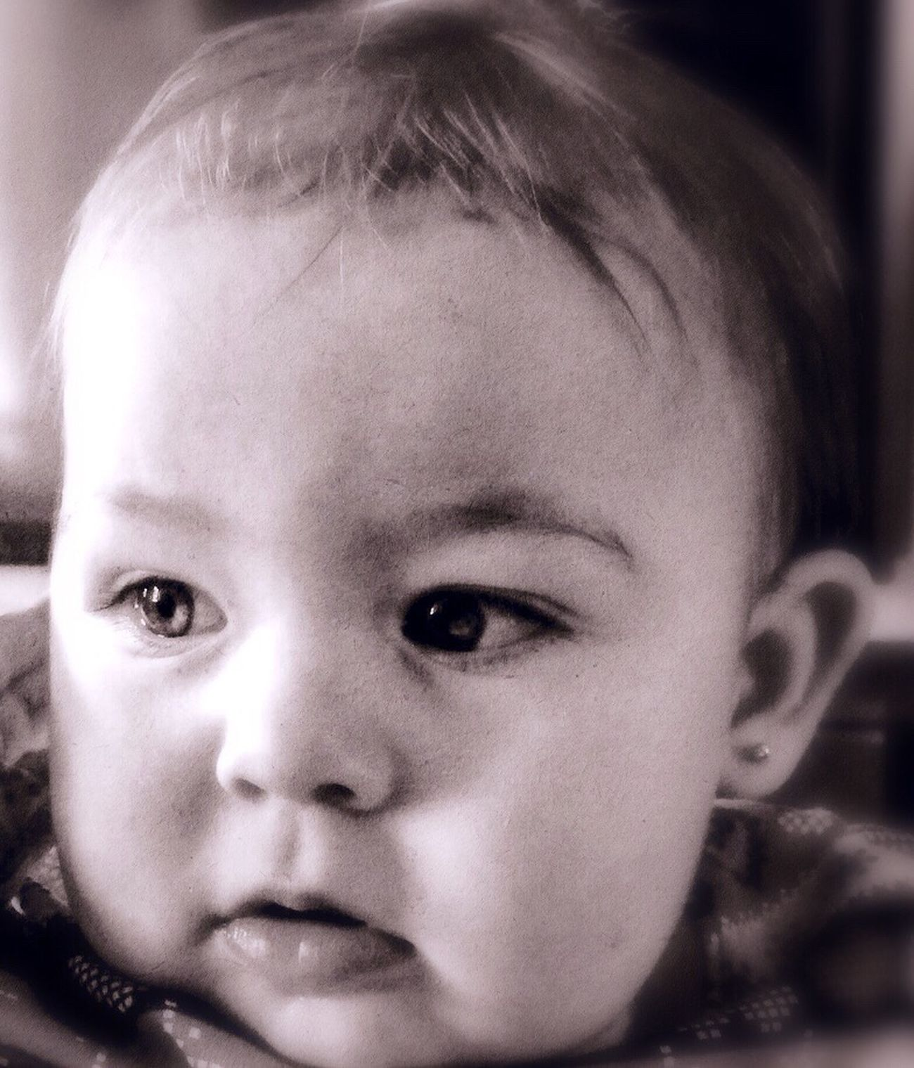 Innocence IPhoneography Childhood Innocence Cute One Person Looking At Camera Close-up Portrait Human Face Real People Front View Headshot Human Eye Indoors  Day People Editedbyme Previous Photo Camerafilters Baby