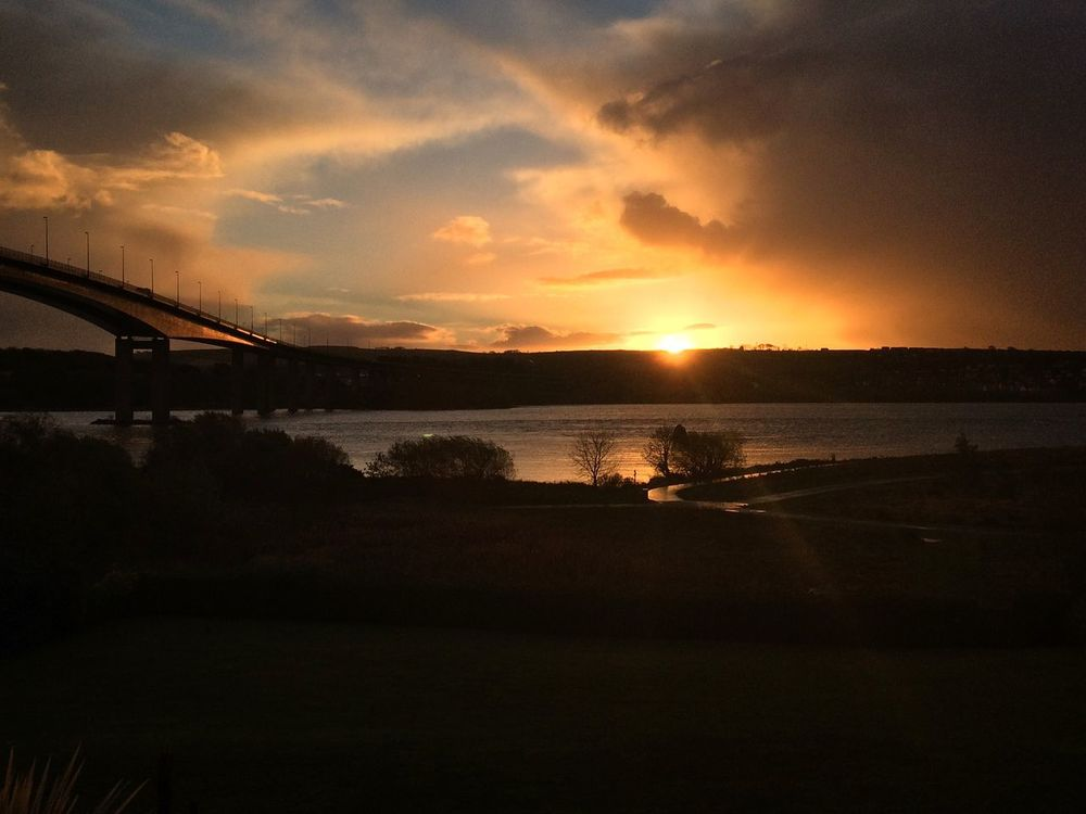 Beautiful Sunrise River Foyle River Foyle Nature Sunrise Ocean View Dramatic Sky Dramatic Bridge Bridgeporn First Eyeem Photo