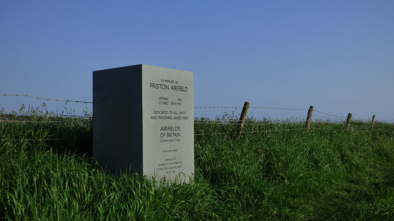 Friston Airfield Memorial Airfield Blue Clear Sky Day Field Friston Grass Grassy Green Color Growth Memorial No People Non-urban Scene Outdoors Royal Air Force Sky Tranquility World War Two