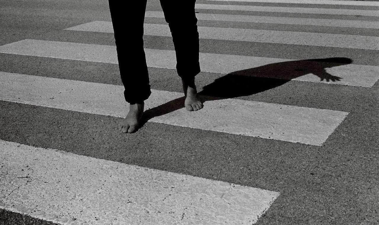 Take a walk...BYOPaper! Human Leg Shadow Silhouette Barefoot Crosswalk Blackandwhite Monochrome Monochrome Photography Leica M7 Film 35mm Film Photography The Film Files