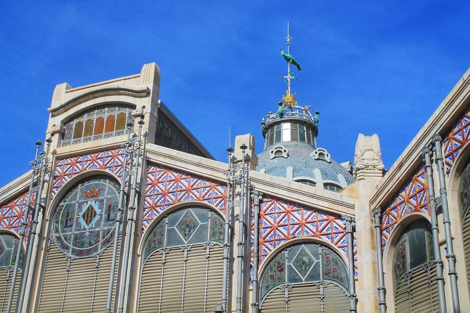 Architecture Architecture Building Exterior Built Structure City City Center Dome Europe Low Angle View Market Market Hall Mosaic No People Old Town Outdoors Shopping Sky SPAIN Tiles Tourist Attraction  Tourist Destination Town València Weathercock