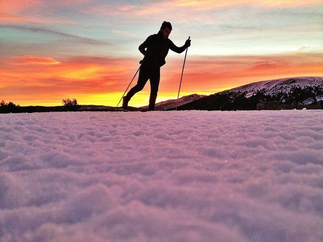 Good Morning! Buenos Días! 1h Entreno  #skicrosscountry #cotos #mountain #sunshine #amanecer #winter #lights #esquídefondo #training
