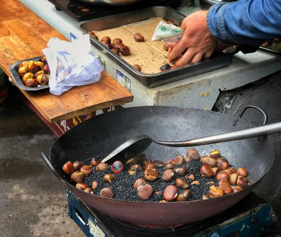 Old fashion chestnut Human Hand Food And Drink Preparation  Healthy Eating High Angle View Ready-to-eat Freshness Chestnut Old Fashion Cooking